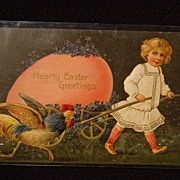 SOLD Antique Embossed Unpostmarked Easter Postcard Hearty Easter Greetings Printed in Germany