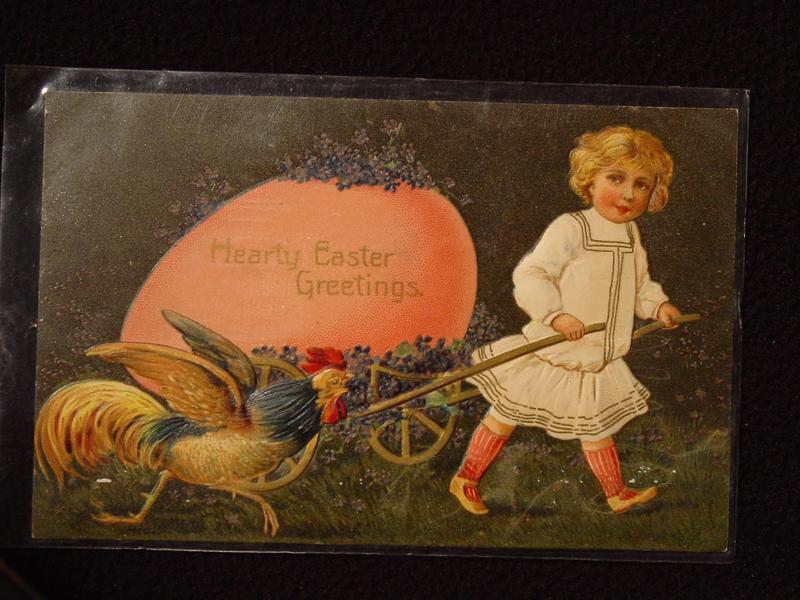Antique Embossed Unpostmarked Easter Postcard Hearty Easter Greetings Printed in Germany