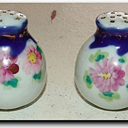 Vintage Japan Nippon Cobalt Aster & Roses Salt & Pepper Shakers