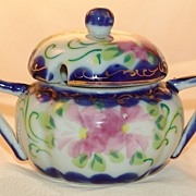 Vintage Nippon Sugar Bowl Cobalt Blue & White Hand Painted Asters Made in Japan EE