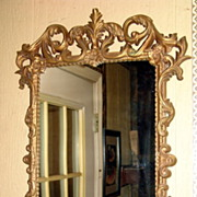 Vintage Medium Ornate Gold Acanthus Scrollwork Framed Wall Mirror
