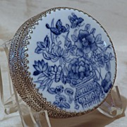 Vintage Hand Painted Blue & White Porcelain Silver Plate Dresser Box Powder Box