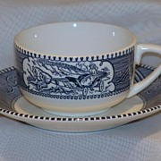 Currier & Ives Sleigh Ride Coffee Cup Royal China Royal Ironstone Made in USA