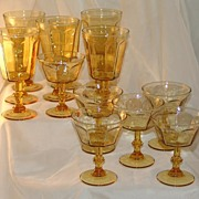 14 Matching Amber Colored Stemmed Water Goblets Parfaits & Sherberts