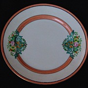 SOLD Vintage Set of 6 Hand Painted Porcelain Peach/Orange Lusterware Plate