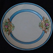 SOLD Vintage Set of 6 Hand Painted Porcelain Blue Lusterware Plate