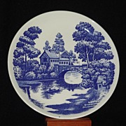 "Blue & White Nasco (Japan) Hand Painted ""Lakeview""  Luncheon Plate"