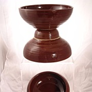 Set of 4 Vintage McCoy Old Brown Glazed Stoneware Oven-Proof Ribbed Serving Baking Casserole B
