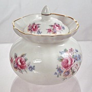 Vintage Golden Crown Fine Bone China Lidded Trinket Box Dish England Porcelain Moss Rose