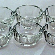 Vintage Set of 6 Individual Salt Cellars Clear Glass Crystal Open Salts