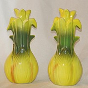 Cute Whimsical Leek or Onion Corn Salt & Pepper Shakers Japan