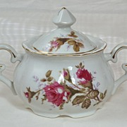 Vintage Pink Moss Rose Spray Sugar Bowl Gold Trimmed