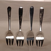 Vintage Set of 6 Sheffield England Small Silver Plate Forks Eales 1779