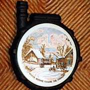 Vintage Ceramic & Cast Iron Stove Trivet  Winter Morning feeding the Chickens