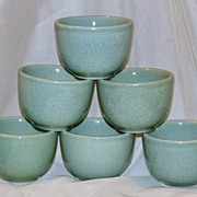 Set of 6 Saki Cups Celedon Satsuma Glaze