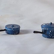 Vintage Miniature Doll House 8 piece Pots & Pans For Dollhouse Kitchenware  Blue & White Ename