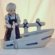 Vintage Blue & White Boy in Boat