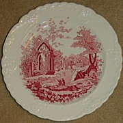 Vintage English Abbey Red Transferware Taylor Smith & Taylor Embossed Roses Man & Woman Shooti