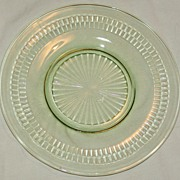 Vintage Roulette Sherbet Plate - Green Depression Glass Anchor Hocking