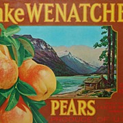 Vintage Original Fruit Crate Paper Label Lake Wenatchee Pears Advertising Sign