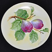 Vintage Hand Painted Fig Plate Artist Signed I. Sato