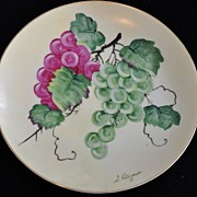 Vintage Hinode Hand Painted Grape Plate Artist Signed S. Kitazawa
