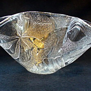 Joyce Pickett Art Glass Handkerchief Vase Bowl Flower Design Whimsy