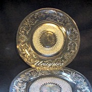 "2 Duncan Miller Sandwich Glass Clear Glass Plates Dish 8 1/4"" Luncheon"