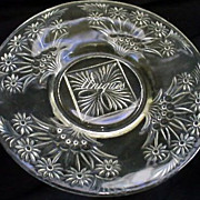 "Indiana Glass Daisy Diane # 371 8"" Luncheon Plate 1930's Flowers In Basket"