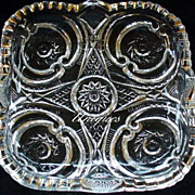Vintage Northwood Glass Valentine #14 Square Dish