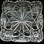 Beautiful Hawkes Brilliant Cut Glass Square Dish Marked Bars, Ladders & Stars