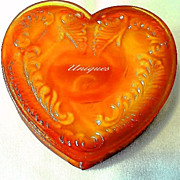 Boyd Glass Amberina Orange Slag Glass Heart Trinket Box Marked Boyds