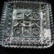 Beautiful Square Brilliant Cut Glass Dish Stars in Squares, Serrated