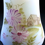 Elegant Fenton Glass Musical Bell HP Grainery Mill Signed & Love Note