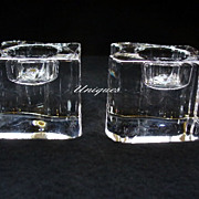 Pair of Orrefors Art Glass Tea Light Candlesticks Candle Holders Ying Yang Like
