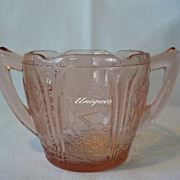 Depression Glass Jeannette Glass Pink Cherry Blossom Sugar Bowl