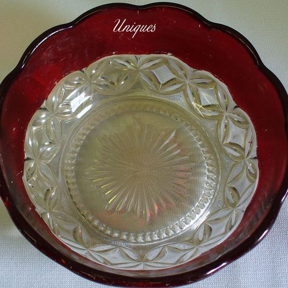 West Virginia Glass Co. Hero #700 Berry Bowl 1894 Ruby Flashed