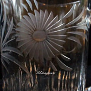 Elegant Cut Crystal Glass Water Pitcher with Flowers & Leaves
