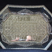 EAPG Waste Not Want Not Platter Early American Pattern Glass
