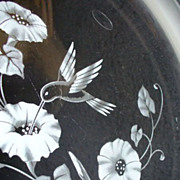Avon Crystal Glass Frosted Hummingbird Morning Glory Platter 12""