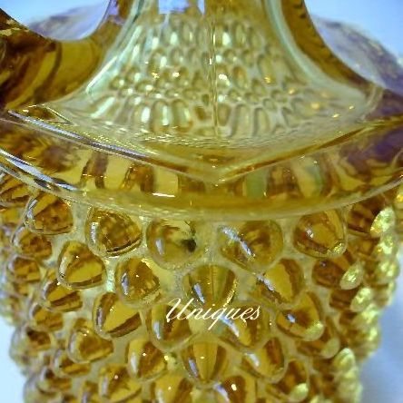 Vintage Honey Amber Glass Hob Nail Hobnail Cruet Oil / Vinegar Bottle