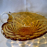 Murano Glass Amber Handled Nappy Basket Dish Weave Gold Aventurine