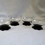 4 Elegant Fry Glass Black Petal Foot Crystal Stem Sherbets Glasses Line #3850