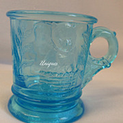 Adorable Mosser Glass Baby Animals Blue Glass Childs Mug Kitten & Puppy
