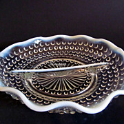Vintage Anchor Hocking Blue Opalescent Moonstone Divided Serving Dish 1940's