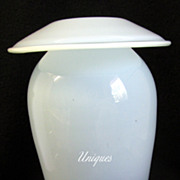 Elegant Lg. Mid Century Modern Blown Glass Mushroom Cap Urn Vase Cloudy Blue