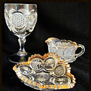 Lot of 3 EAPG US Glass The States Cane & Star Medallion Creamer, Goblet & Card Receiver