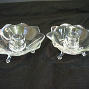 2 Lancaster Glass Footed Petal Candlesticks Candle Holders 1930-31