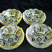 4 Mckee Brothers Hickman Clear with Gold Berry Bowls La Clede 1897 EAPG