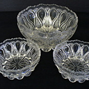 U.S. Glass New Jersey Loops and Drops Master Berry Bowl Set State Series 1900